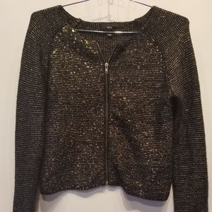 Mossimo Gold & Black Metallic Zip Sweater